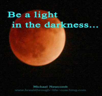 Photograph of a red  moon, captioned